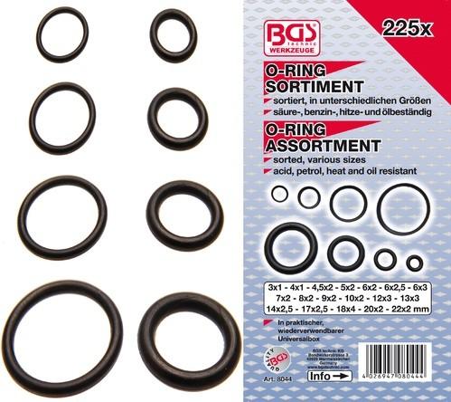 BGS set O-ring brtvi 3-22mm 225 kom    8044