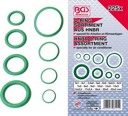 BGS set O-ring HNBR brtvi 3-22mm 225 kom pro+  8121