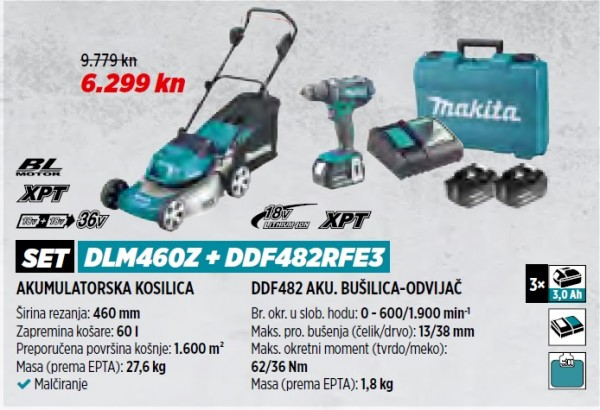 MAKITA akumulatorska kosilica DLM460Z + DDF482RFE3  VRT 1/21