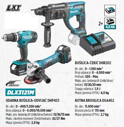 MAKITA set DLX3121M + torba 831271-6