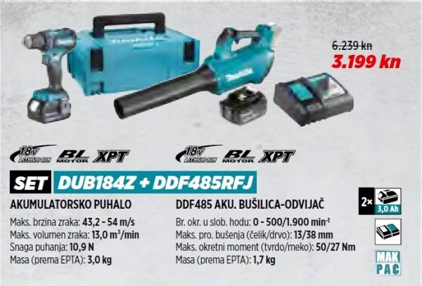MAKITA akumulatorsko puhalo + akumulatorska bušilica DUB184Z + DDF485RFJ MAG 1/21