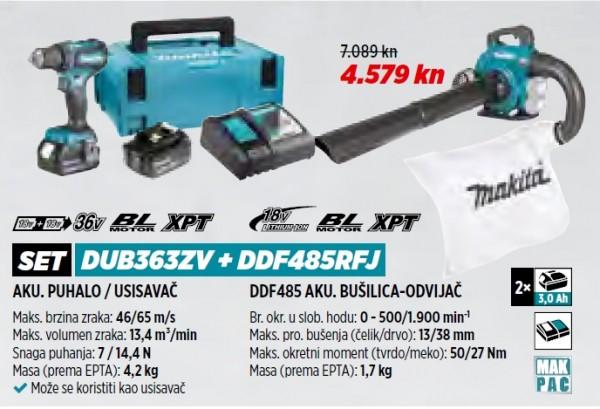 MAKITA akumulatorsko puhalo / usisavač + akumulatorska bušilca DUB363ZV + DDF485RFJ  VRT 1/21
