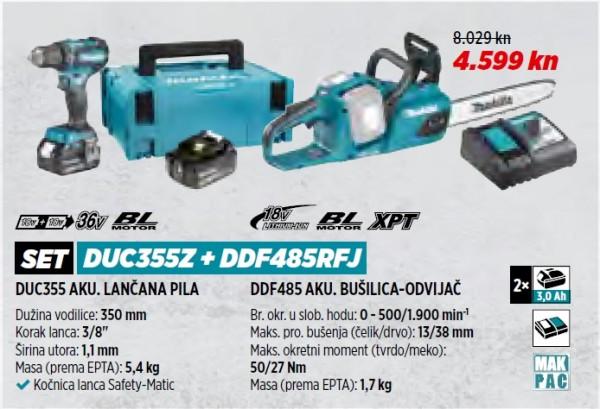MAKITA akumulatorska lančana pila DUC355Z + DDF485RFJ