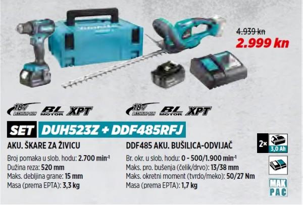 MAKITA akumulatorske škare za živicu + akumulatorska bušilica DUH523Z + DDF485RFJ  VRT 1/21