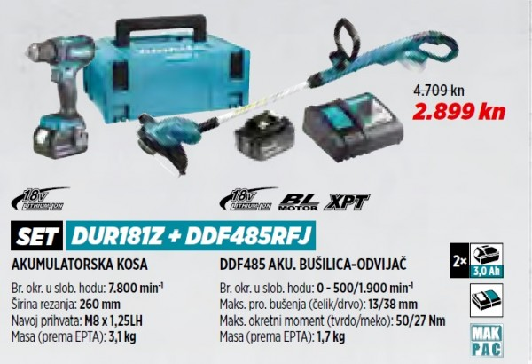 MAKITA akumulatorska kosa/trimer / flakserica DUR181Z+DDF485RFJ  VRT 1/21