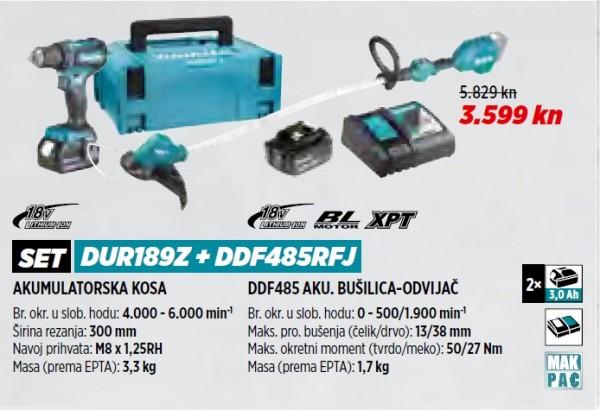 MAKITA akumulatorski trimer/kosa/flakserica DUR189Z+DDF485RFJ  VRT 1/21