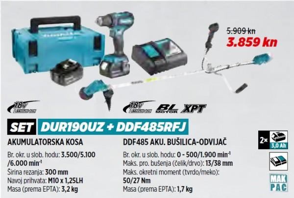 MAKITA akumulatorski trimer/kosilica/flakserica DUR190UZ+DDF485RFJ  VRT 1/21
