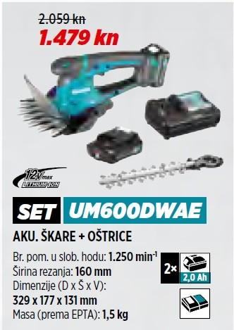 MAKITA akumulatorske škare za travu + oštrica za živicu UM600DWAE + 198408-1  VRT 1/21