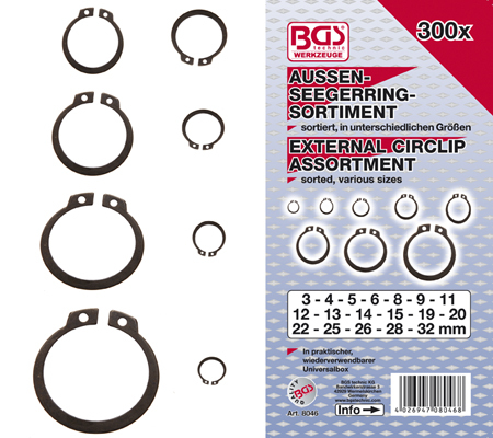 BGS set vanjskih seger osiguraća 3-32mm 300kom pro+  8046