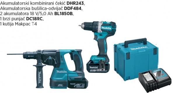 MAKITA akumulatorski set (DHR243,DDF484,BL1850Bx2,DC18RC) DLX2191TJ
